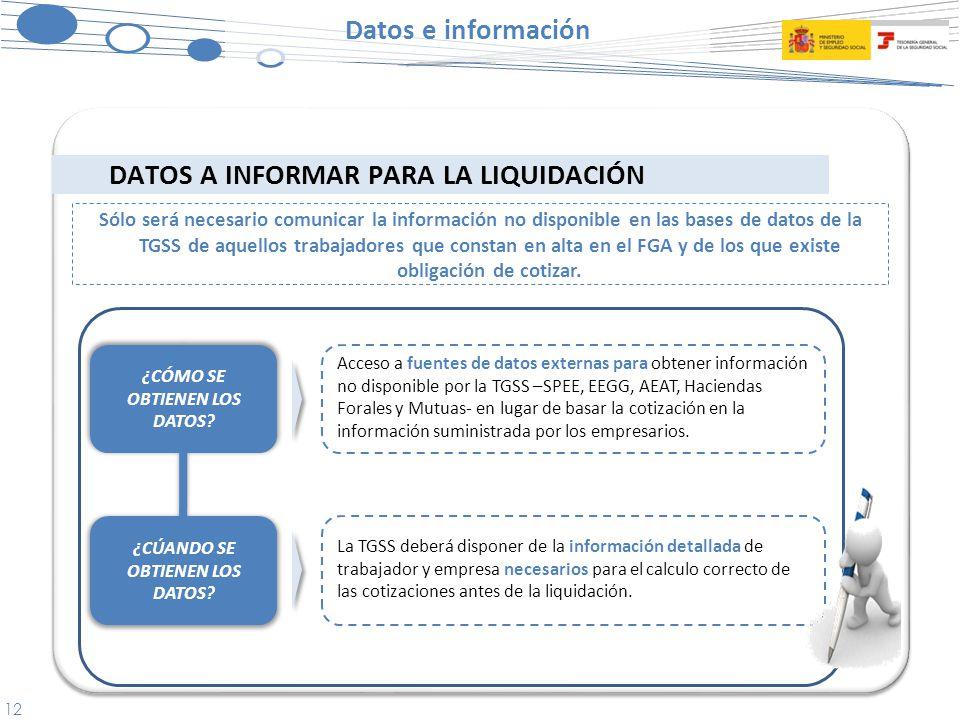 12 DATOS A INFORMAR PARA LA LIQUIDACIÓN Datos e información Sólo será necesario comunicar la información no disponible en las bases de datos de la TGSS de aquellos trabajadores que constan en alta en el FGA y de los que existe obligación de cotizar.