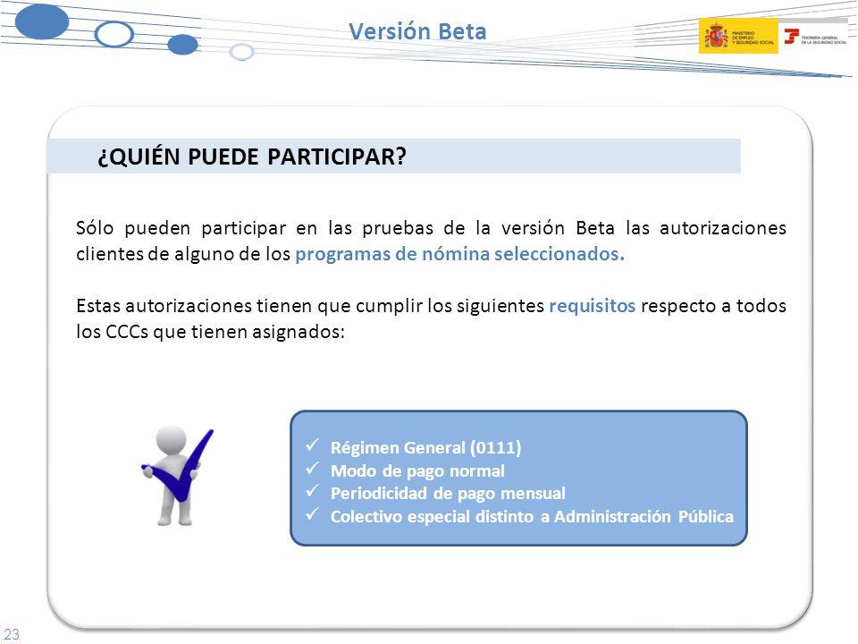 23 Versión Beta Régimen General (0111) Modo de pago normal Periodicidad de pago mensual Colectivo especial distinto a Administración Pública Sólo pueden participar en las pruebas de la versión Beta las autorizaciones clientes de alguno de los programas de nómina seleccionados.