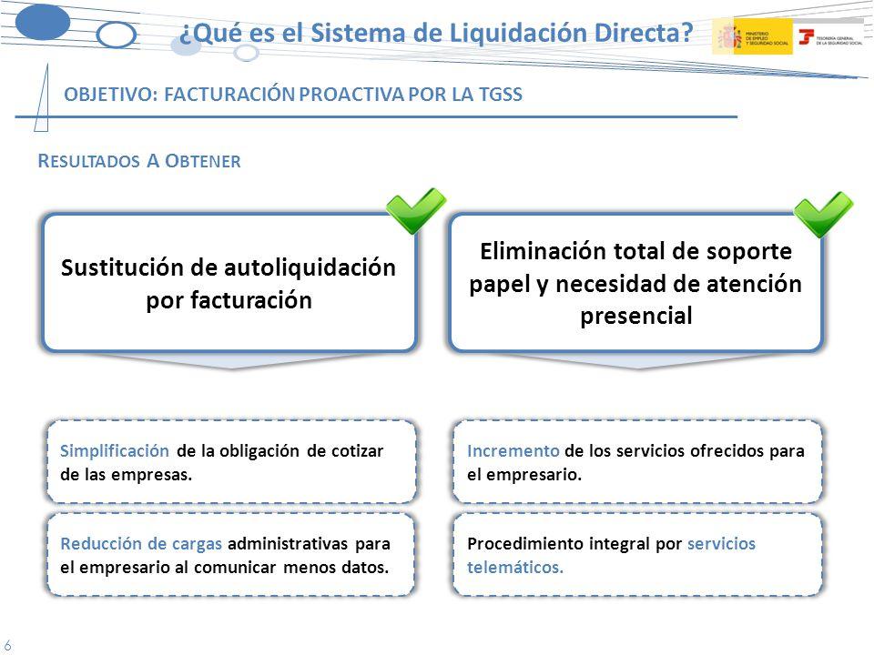 6 OBJETIVO: FACTURACIÓN PROACTIVA POR LA TGSS Simplificación de la obligación de cotizar de las empresas.