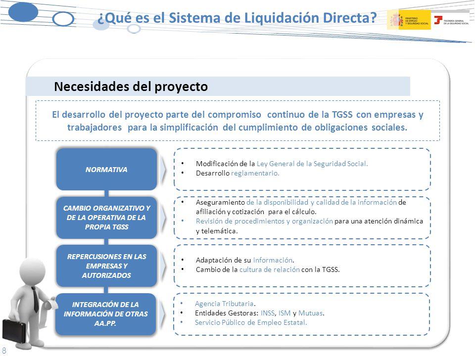 8 Necesidades del proyecto El desarrollo del proyecto parte del compromiso continuo de la TGSS con empresas y trabajadores para la simplificación del cumplimiento de obligaciones sociales.