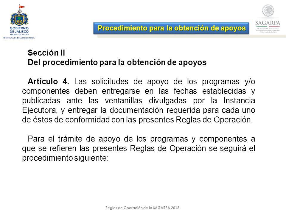 Reglas de Operación de la SAGARPA 2013 Procedimiento para la obtención de apoyos Sección II Del procedimiento para la obtención de apoyos Artículo 4.