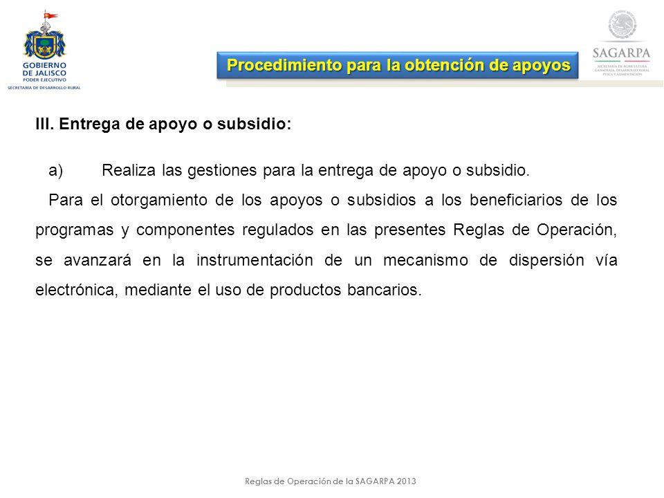 Reglas de Operación de la SAGARPA 2013 III.