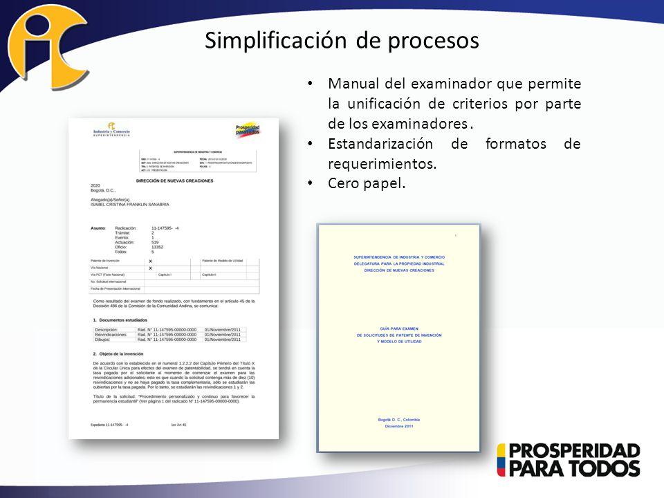 Simplificación de procesos Manual del examinador que permite la unificación de criterios por parte de los examinadores.