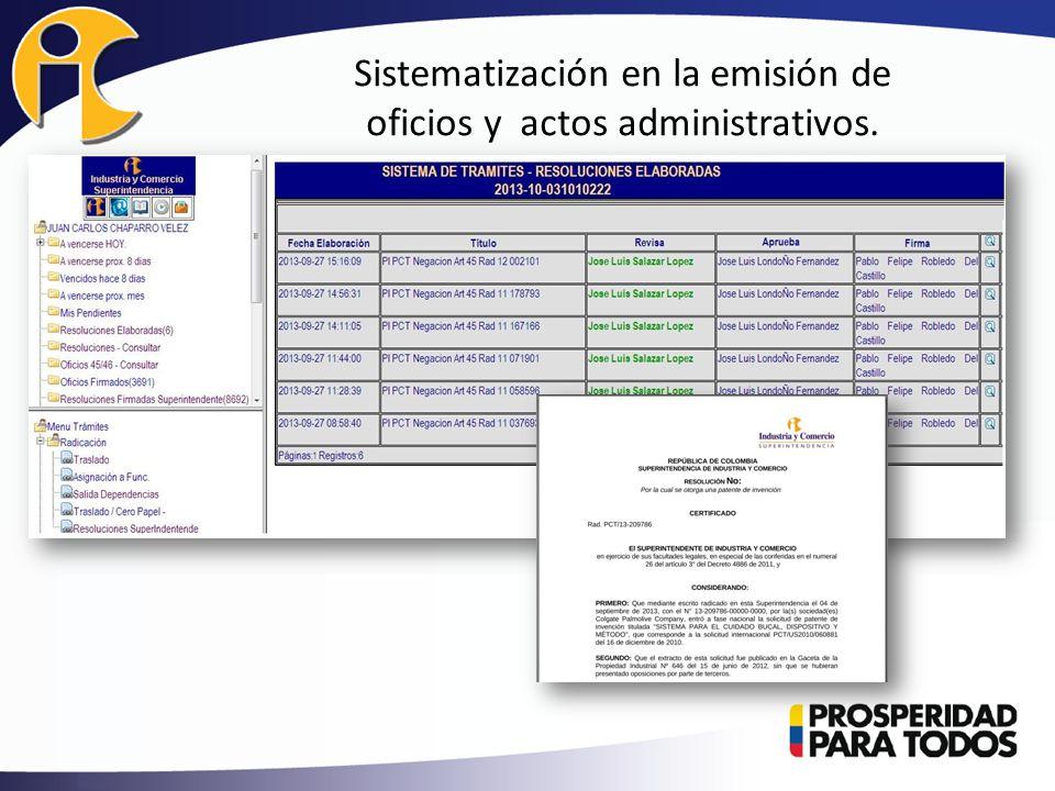 Sistematización en la emisión de oficios y actos administrativos.