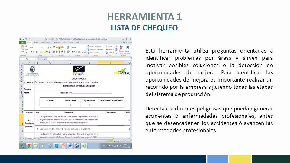 HERRAMIENTA 1 Esta herramienta utiliza preguntas orientadas a identificar problemas por áreas y sirven para motivar posibles soluciones o la detección de oportunidades de mejora.