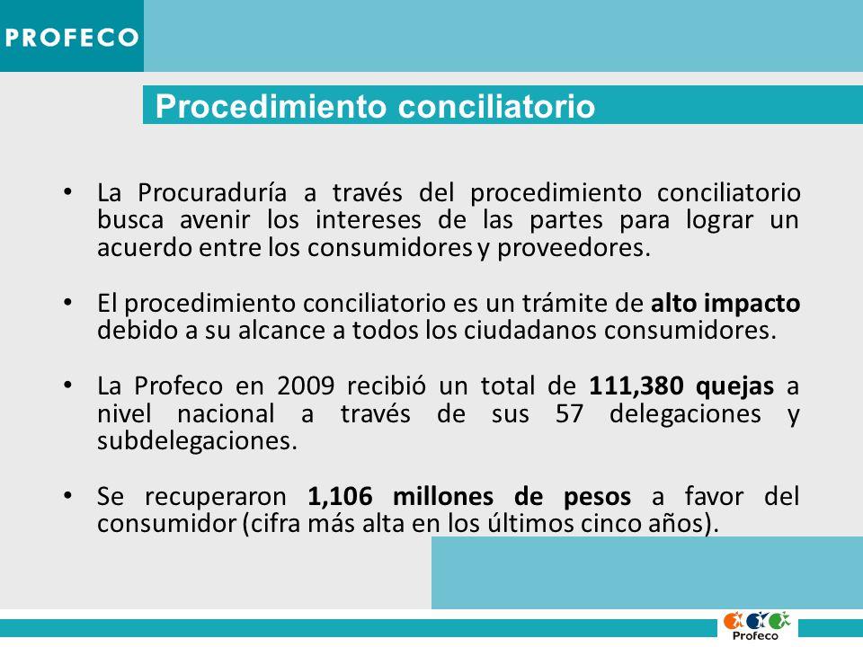 Procedimiento conciliatorio La Procuraduría a través del procedimiento conciliatorio busca avenir los intereses de las partes para lograr un acuerdo entre los consumidores y proveedores.
