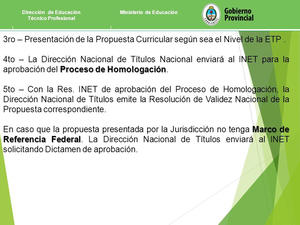 Dirección de Educación Técnico Profesional Ministerio de Educación 3ro – Presentación de la Propuesta Curricular según sea el Nivel de la ETP.