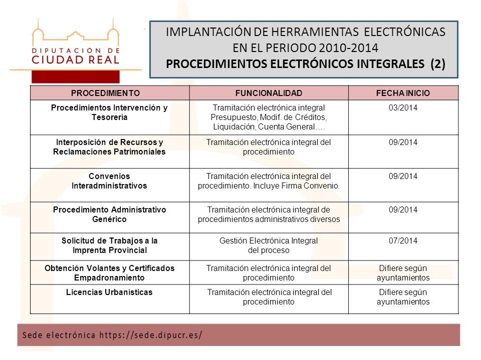 IMPLANTACIÓN DE HERRAMIENTAS ELECTRÓNICAS EN EL PERIODO 2010-2014 PROCEDIMIENTOS ELECTRÓNICOS INTEGRALES (2) PROCEDIMIENTOFUNCIONALIDADFECHA INICIO Procedimientos Intervención y Tesorería Tramitación electrónica integral Presupuesto, Modif.