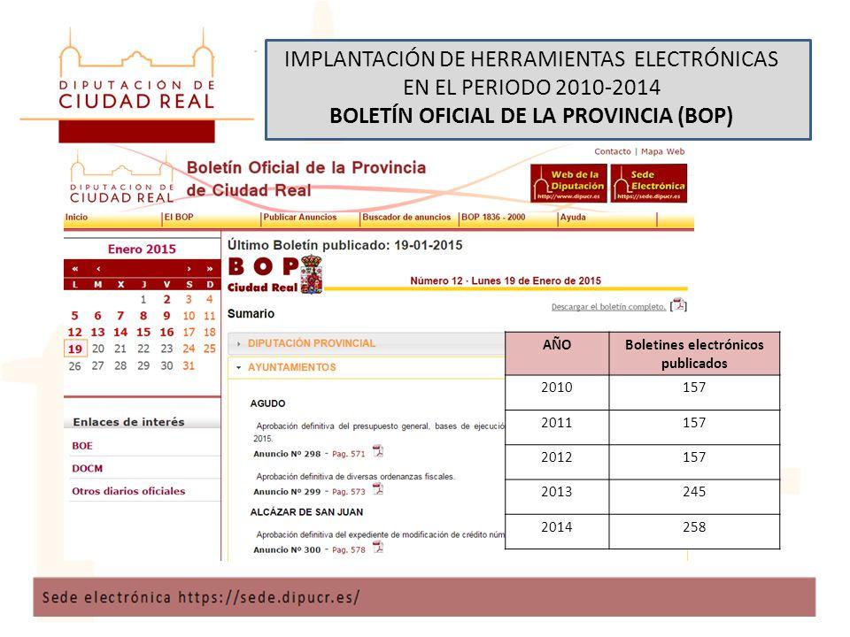 IMPLANTACIÓN DE HERRAMIENTAS ELECTRÓNICAS EN EL PERIODO 2010-2014 BOLETÍN OFICIAL DE LA PROVINCIA (BOP) AÑOBoletines electrónicos publicados 2010157 2011157 2012157 2013245 2014258