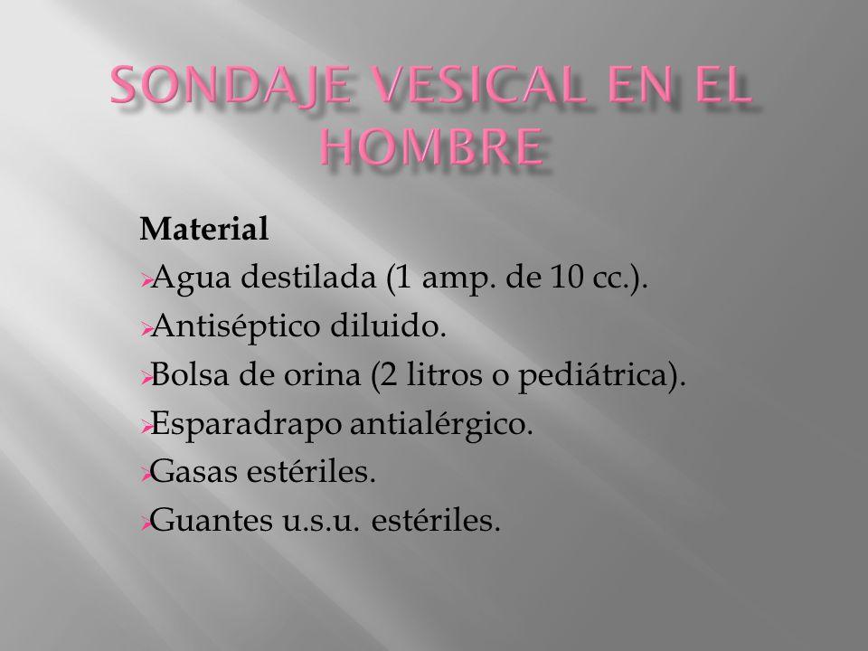 Material  Agua destilada (1 amp. de 10 cc.).  Antiséptico diluido.  Bolsa de orina (2 litros o pediátrica).  Esparadrapo antialérgico.  Gasas est