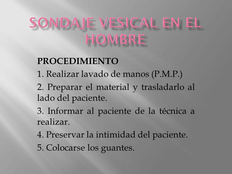 PROCEDIMIENTO 6.Lavar los genitales del paciente 7.