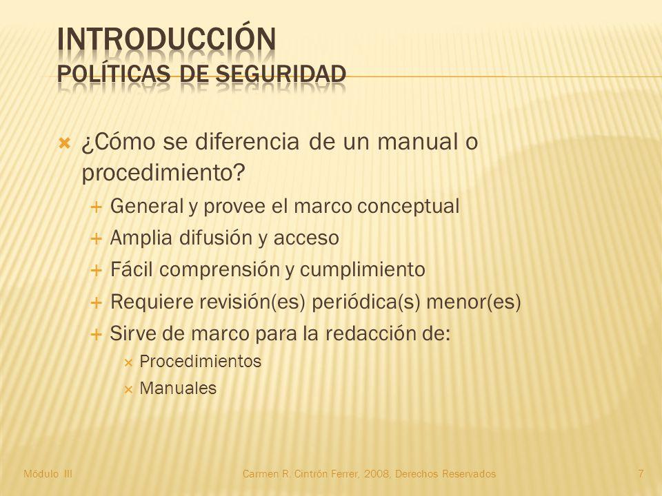  ¿Cómo se diferencia de un manual o procedimiento.