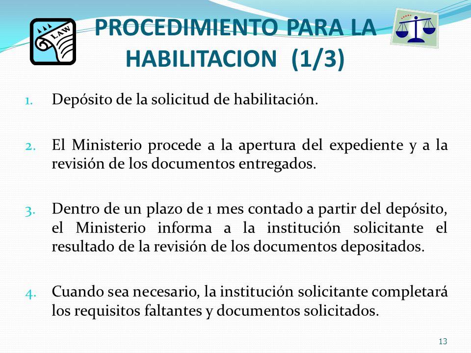 PROCEDIMIENTO PARA LA HABILITACION (1/3) 1. Depósito de la solicitud de habilitación.