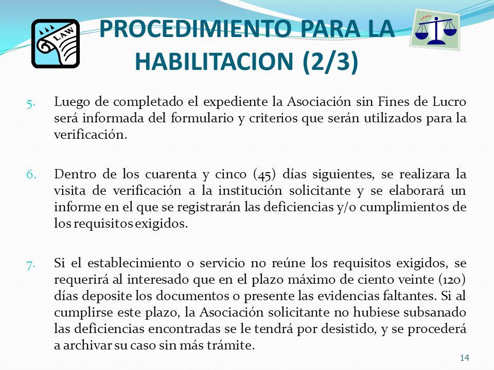PROCEDIMIENTO PARA LA HABILITACION (2/3) 5.