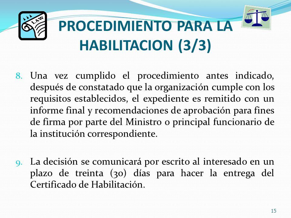 PROCEDIMIENTO PARA LA HABILITACION (3/3) 8.