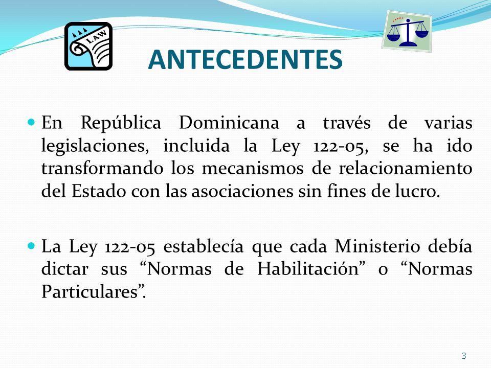 ANTECEDENTES En República Dominicana a través de varias legislaciones, incluida la Ley 122-05, se ha ido transformando los mecanismos de relacionamiento del Estado con las asociaciones sin fines de lucro.