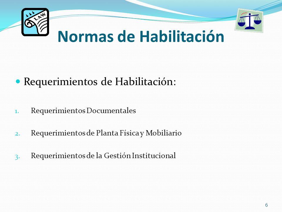 Normas de Habilitación Requerimientos de Habilitación: 1.