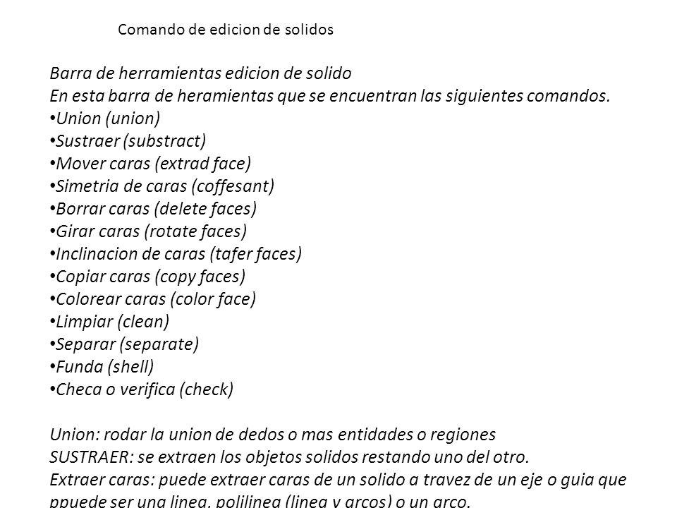 Barra de herramientas edicion de solido En esta barra de heramientas que se encuentran las siguientes comandos.
