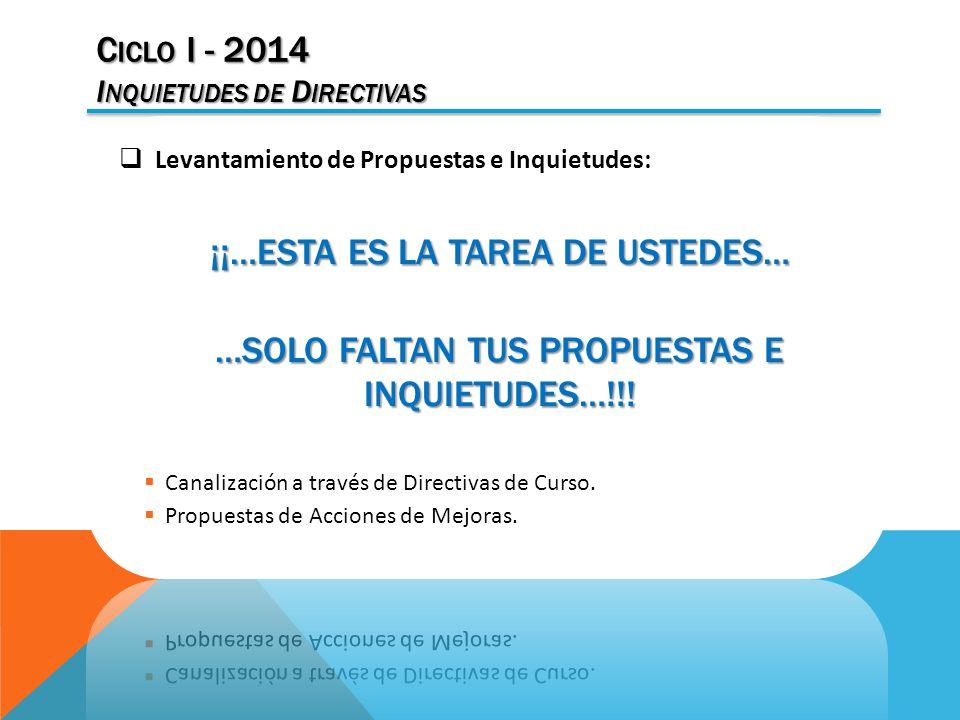 C ICLO I - 2014 I NQUIETUDES DE D IRECTIVAS