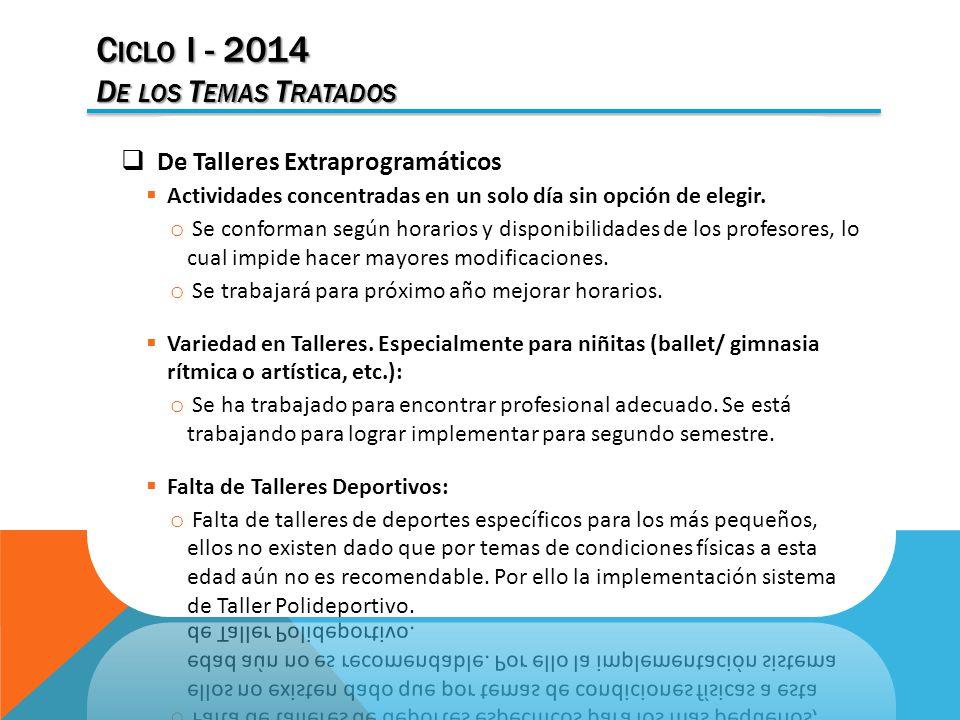 C ICLO I - 2014 D E LOS T EMAS T RATADOS