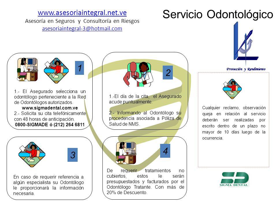Servicio Odontológico 1 1.- El Asegurado selecciona un odontólogo perteneciente a la Red de Odontólogos autorizados.