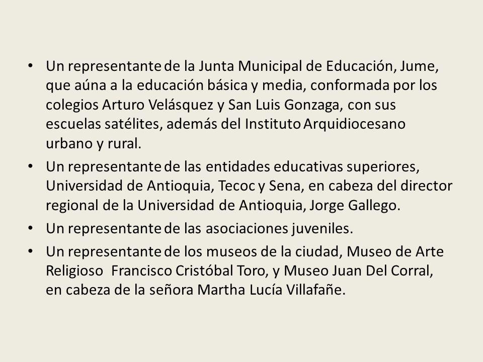 Un representante de la Junta Municipal de Educación, Jume, que aúna a la educación básica y media, conformada por los colegios Arturo Velásquez y San Luis Gonzaga, con sus escuelas satélites, además del Instituto Arquidiocesano urbano y rural.