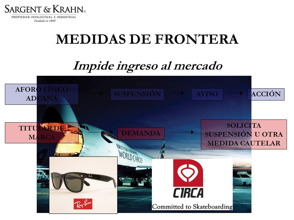 MEDIDAS DE FRONTERA Impide ingreso al mercado AFORO FÍSICO ADUANA SUSPENSIÓNAVISOACCIÓN TITULAR DE MARCA DEMANDA SOLICITA SUSPENSIÓN U OTRA MEDIDA CAUTELAR