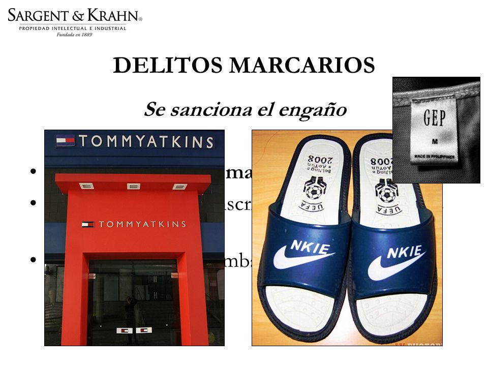 DELITOS MARCARIOS Se sanciona el engaño Uso malicioso de marca comercial.