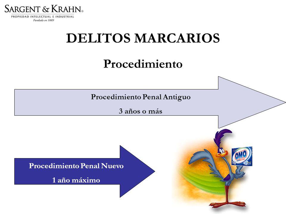 DELITOS MARCARIOS Procedimiento Procedimiento Penal Nuevo 1 año máximo Procedimiento Penal Antiguo 3 años o más