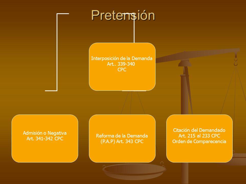 Pretensión Interposición de la Demanda Art.. 339-340 CPC Admisión o Negativa Art.