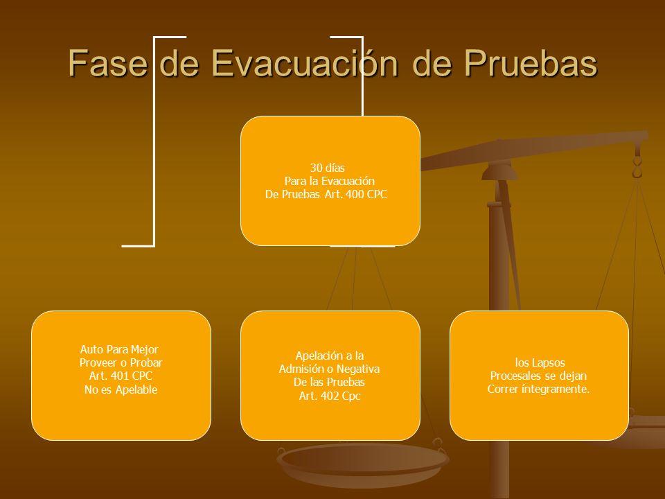 Fase de Evacuación de Pruebas 30 días Para la Evacuación De Pruebas Art.