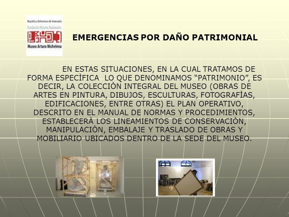 EMERGENCIAS POR DAÑO PATRIMONIAL EN ESTAS SITUACIONES, EN LA CUAL TRATAMOS DE FORMA ESPECÌFICA LO QUE DENOMINAMOS PATRIMONIO , ES DECIR, LA COLECCIÒN INTEGRAL DEL MUSEO (OBRAS DE ARTES EN PINTURA, DIBUJOS, ESCULTURAS, FOTOGRAFÌAS, EDIFICACIONES, ENTRE OTRAS) EL PLAN OPERATIVO, DESCRITO EN EL MANUAL DE NORMAS Y PROCEDIMIENTOS, ESTABLECERÀ LOS LINEAMIENTOS DE CONSERVACIÒN, MANIPULACIÒN, EMBALAJE Y TRASLADO DE OBRAS Y MOBILIARIO UBICADOS DENTRO DE LA SEDE DEL MUSEO.