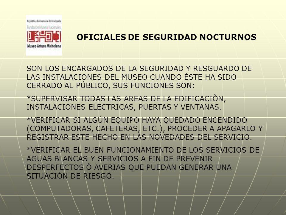 OFICIALES DE SEGURIDAD NOCTURNOS SON LOS ENCARGADOS DE LA SEGURIDAD Y RESGUARDO DE LAS INSTALACIONES DEL MUSEO CUANDO ÉSTE HA SIDO CERRADO AL PÚBLICO, SUS FUNCIONES SON: *SUPERVISAR TODAS LAS AREAS DE LA EDIFICACIÒN, INSTALACIONES ELECTRICAS, PUERTAS Y VENTANAS.