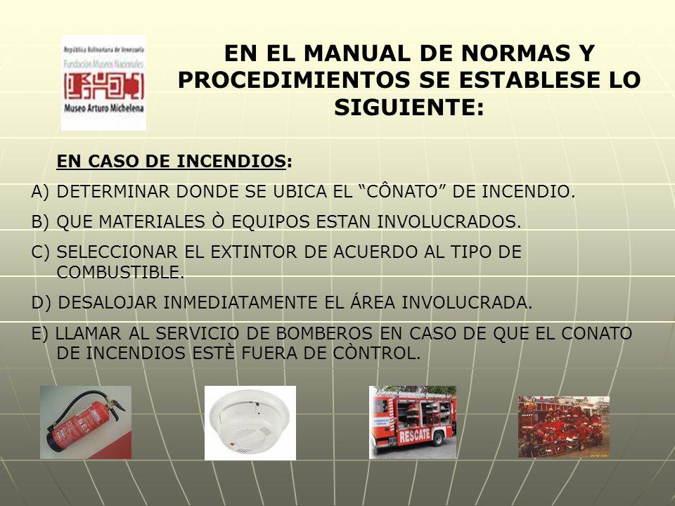 EN EL MANUAL DE NORMAS Y PROCEDIMIENTOS SE ESTABLESE LO SIGUIENTE: EN CASO DE INCENDIOS: A)DETERMINAR DONDE SE UBICA EL CÔNATO DE INCENDIO.