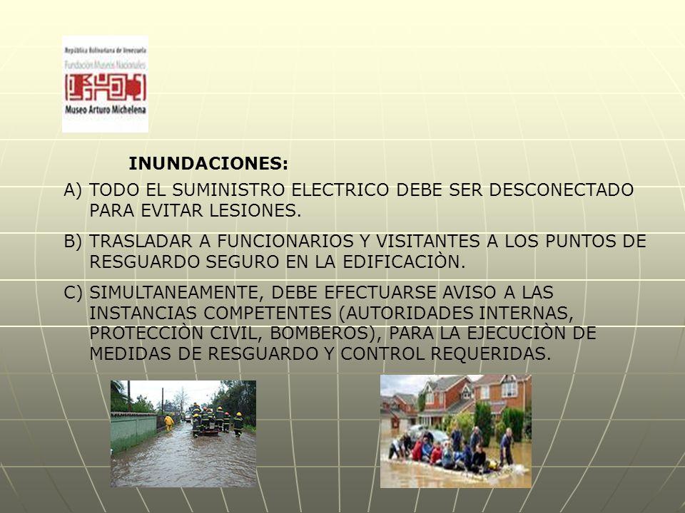 INUNDACIONES: A)TODO EL SUMINISTRO ELECTRICO DEBE SER DESCONECTADO PARA EVITAR LESIONES.