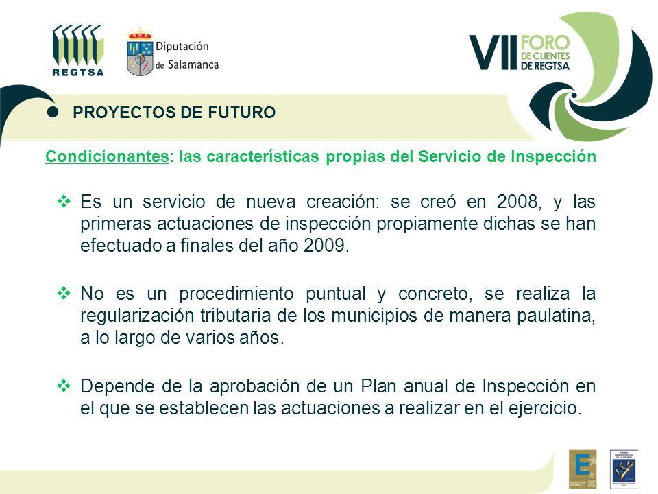 Condicionantes: las características propias del Servicio de Inspección  Es un servicio de nueva creación: se creó en 2008, y las primeras actuaciones de inspección propiamente dichas se han efectuado a finales del año 2009.