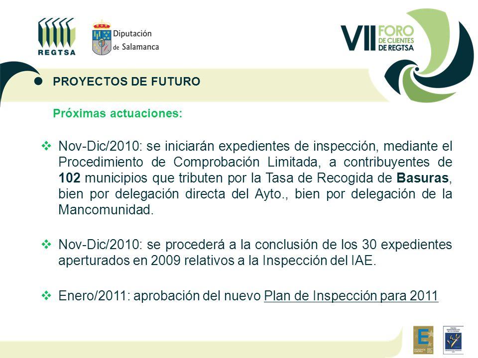 Próximas actuaciones:  Nov-Dic/2010: se iniciarán expedientes de inspección, mediante el Procedimiento de Comprobación Limitada, a contribuyentes de 102 municipios que tributen por la Tasa de Recogida de Basuras, bien por delegación directa del Ayto., bien por delegación de la Mancomunidad.