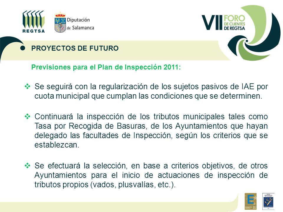 Previsiones para el Plan de Inspección 2011:  Se seguirá con la regularización de los sujetos pasivos de IAE por cuota municipal que cumplan las condiciones que se determinen.