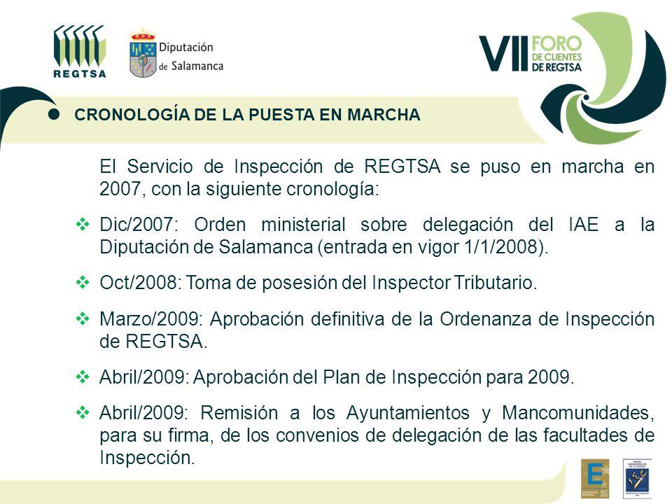 El Servicio de Inspección de REGTSA se puso en marcha en 2007, con la siguiente cronología:  Dic/2007: Orden ministerial sobre delegación del IAE a la Diputación de Salamanca (entrada en vigor 1/1/2008).