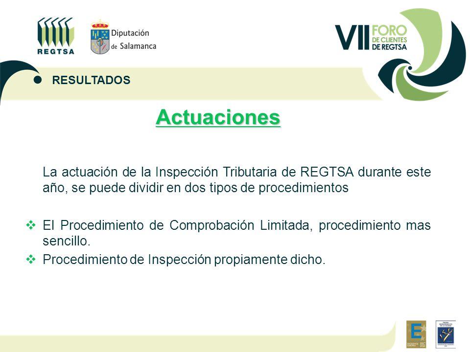 Actuaciones La actuación de la Inspección Tributaria de REGTSA durante este año, se puede dividir en dos tipos de procedimientos  El Procedimiento de Comprobación Limitada, procedimiento mas sencillo.