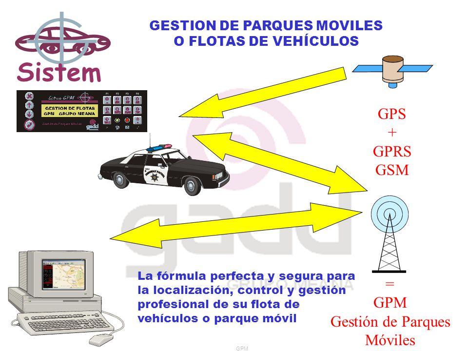 Sistem a GPM GESTION DE PARQUES MOVILES O FLOTAS DE VEHÍCULOS GPS + GPRS GSM = GPM Gestión de Parques Móviles La fórmula perfecta y segura para la localización, control y gestión profesional de su flota de vehículos o parque móvil GPM