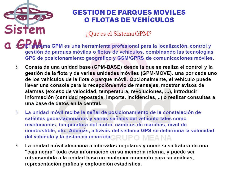 Sistem a GPM GESTION DE PARQUES MOVILES O FLOTAS DE VEHÍCULOS ¿Que es el Sistema GPM.