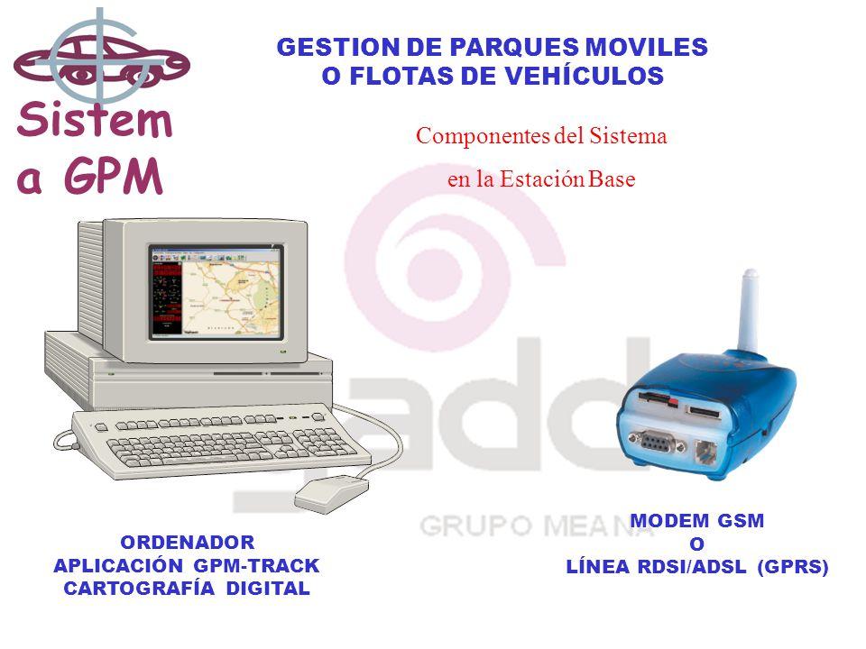 Sistem a GPM GESTION DE PARQUES MOVILES O FLOTAS DE VEHÍCULOS Componentes del Sistema en la Estación Base ORDENADOR APLICACIÓN GPM-TRACK CARTOGRAFÍA DIGITAL MODEM GSM O LÍNEA RDSI/ADSL (GPRS)