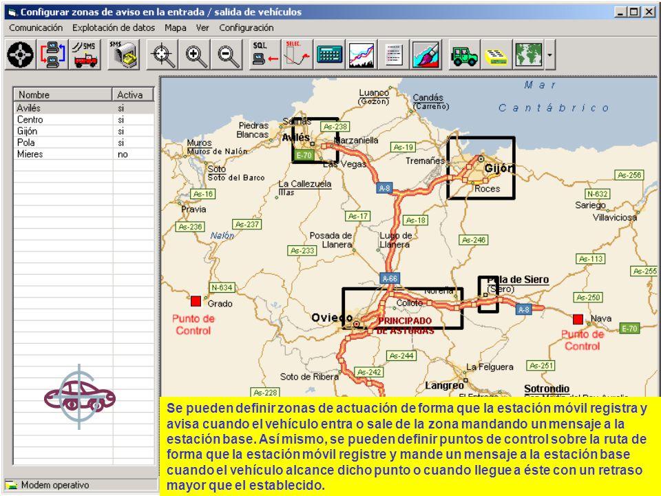 Se pueden definir zonas de actuación de forma que la estación móvil registra y avisa cuando el vehículo entra o sale de la zona mandando un mensaje a la estación base.