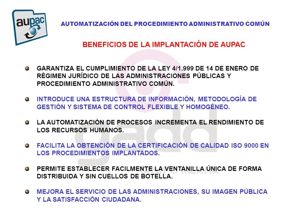 AUTOMATIZACIÓN DEL PROCEDIMIENTO ADMINISTRATIVO COMÚN GARANTIZA EL CUMPLIMIENTO DE LA LEY 4/1.999 DE 14 DE ENERO DE RÉGIMEN JURÍDICO DE LAS ADMINISTRACIONES PÚBLICAS Y PROCEDIMIENTO ADMINISTRATIVO COMÚN.