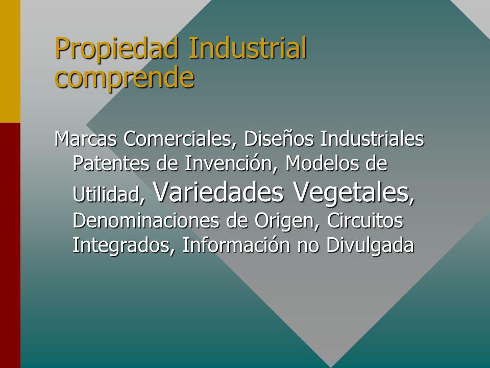 Propiedad Industrial comprende Marcas Comerciales, Diseños Industriales Patentes de Invención, Modelos de Utilidad, Variedades Vegetales, Denominaciones de Origen, Circuitos Integrados, Información no Divulgada