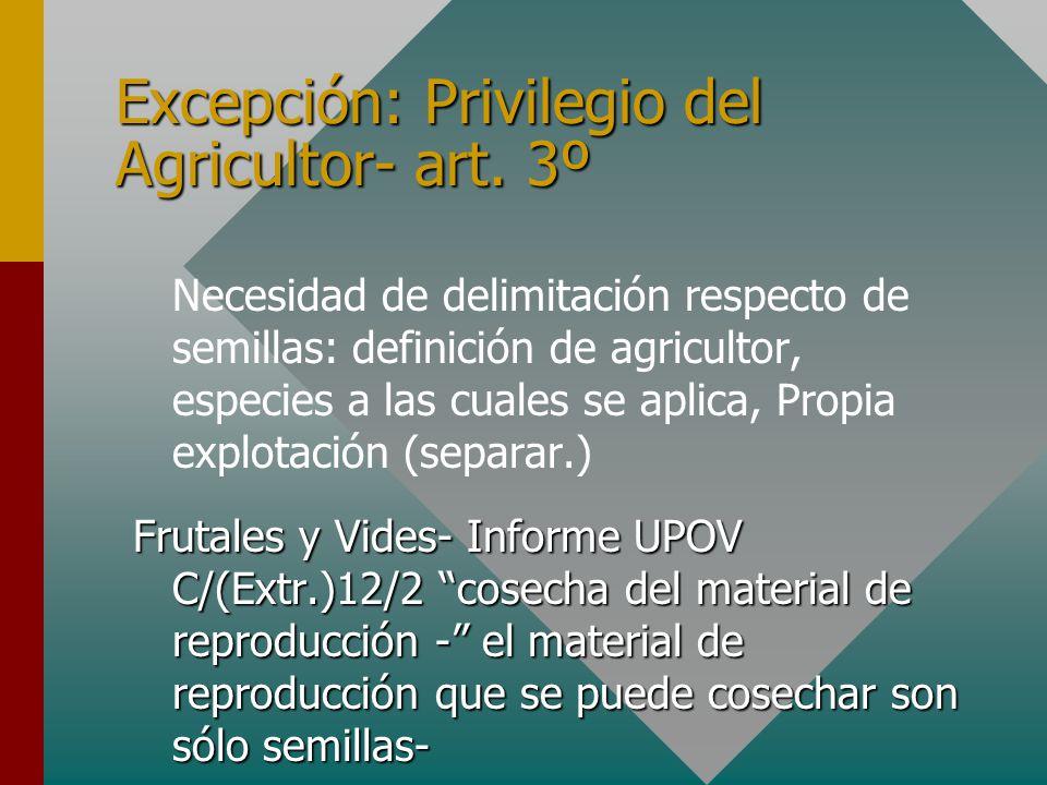 Excepción: Privilegio del Agricultor- art.