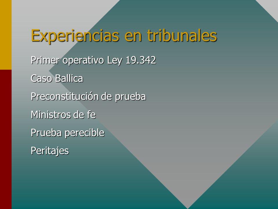 Experiencias en tribunales Primer operativo Ley 19.342 Caso Ballica Preconstitución de prueba Ministros de fe Prueba perecible Peritajes
