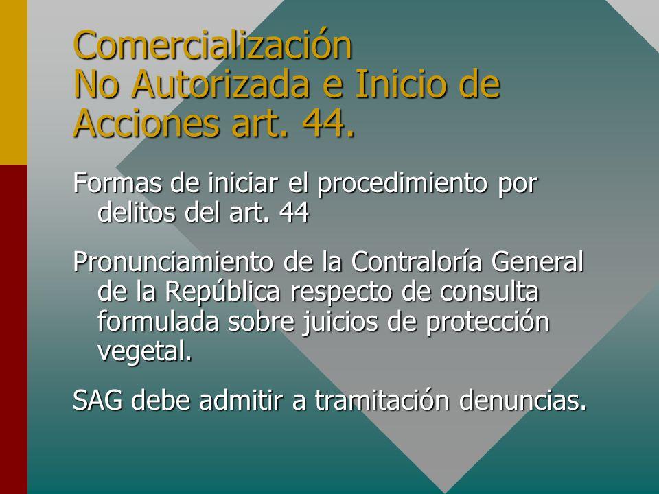 Comercialización No Autorizada e Inicio de Acciones art.