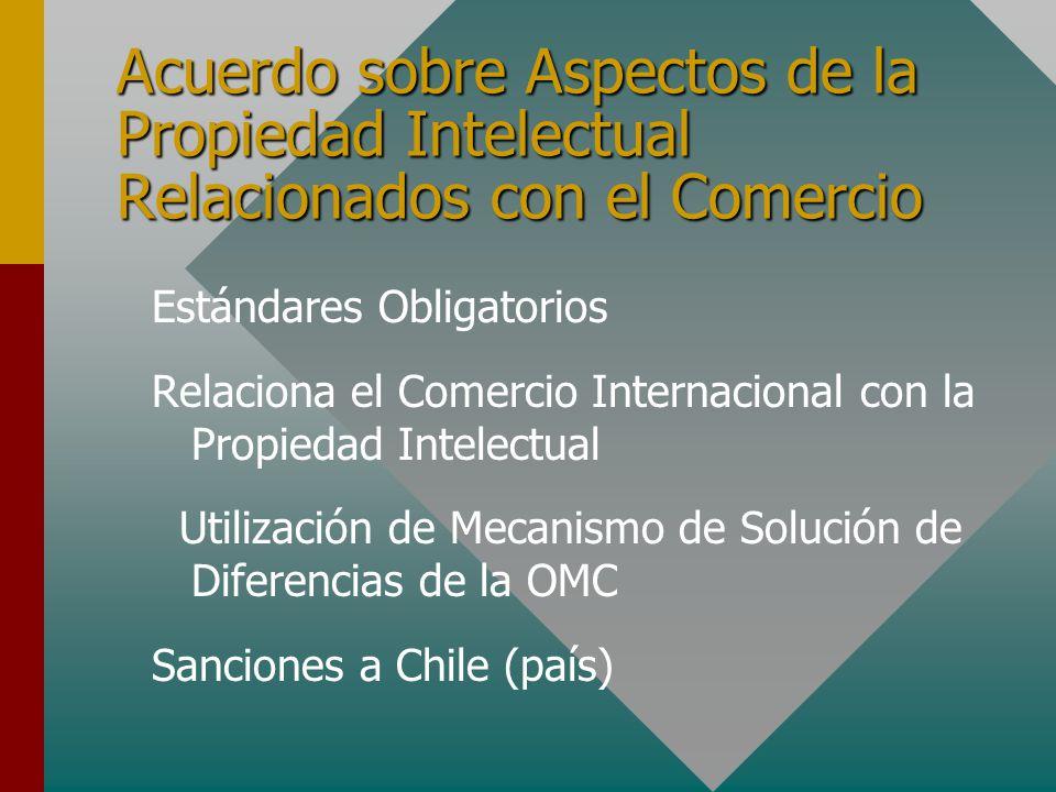Acuerdo sobre Aspectos de la Propiedad Intelectual Relacionados con el Comercio Estándares Obligatorios Relaciona el Comercio Internacional con la Propiedad Intelectual Utilización de Mecanismo de Solución de Diferencias de la OMC Sanciones a Chile (país)